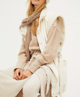 HTF!! NEW FREE PEOPLE ETTA SHEARLING FLEECE LINED NATURAL COTTON VEST JACKET M