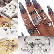 9Pcs/Set Crystal Finger Knuckle Ring Band Boho Retro Midi Rings Stacking Ring