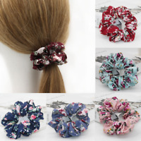 Girls Pretty Floral Cotton Scrunchies Flower Hair Ties Women Hair Accessories