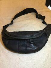 Vintage Black Leather Patchwork Belt Bag Fanny Pack Zip Pockets Adjustable