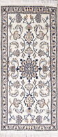 Floral Pro White Nain Hand-knotted Runner Rug Traditional Oriental Carpet 2x5 ft