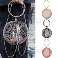 Womens Metal Net Ball Clutch Ring Handle Cage Evening Bags Crossbody Chain Bags