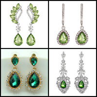 Green Crystal Drop Diamante Platinum / Gold Plated Pierced Dangle Earrings Green