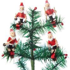 Wooden Santa Elves Downhill Skiing Wood Christmas Ornament Set of 4