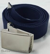 "NEW 1.5"" WIDE 54"" inch NAVY BLUE CHROME FLIP TOP BUCKLE CANVAS MILITARY WEB BELT"