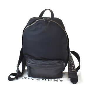 Authentic GIVENCHY Logo Studded 2Way Back Pack Bag Leather Black Italy 88BQ824