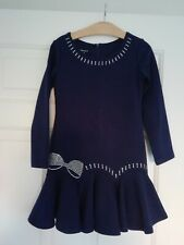 KATE MACK DARK BLUE WITH SILVER PATTERN LONG SLEEVE DRESS - AGE 4 - RRP £76.99