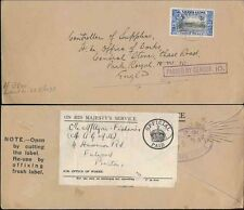 SIERRA LEONE JAN 1940 CENSORED COVER to GB OFFICE of WORKS + REDIRECTED..PRESTON