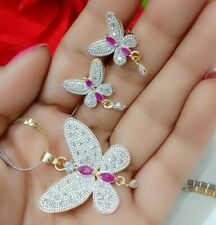 Butterfly Necklace Pendant Red Stone AD Jewelry Fashion Lady Earring Gift Love
