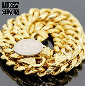 19''STAINLESS STEEL CUBAN CURB CHOKER GOLD NECKLACE BRACELET SET(14mm)239g/SET31