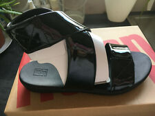 STUNNING FITFLOP CARIN BLACK PATENT BACK STRAP SANDALS BRAND NEW IN BOX SIZE 6