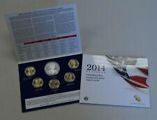 "2014 Annual Unc Dollar 6 Coin Set Silver Eagle Sacagawea Presidential ""BU"""