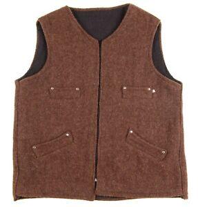 HEAVY TWEED Brown Wool Rugged Outdoors Hiking Full Zip Vest 48 / XXL