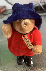 Vintage 1986 Paddington Red Coat 5 Inch Eden Toys, Poseable Limbs Made in Korea