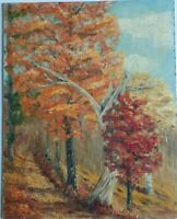 """VINTAGE Original 1958 Vermont Oil PAINTING  """"Old Chestnut Tree"""" On Board Signed"""