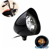 """5.75"""" Motorcycle Black Aluminum Visor Bullet Headlight Lamp For Harley Softail"""