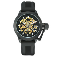 Black Silicone Strap Mechanical Watch