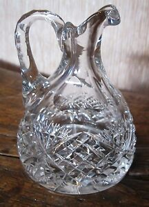 Cut glass oil bottle.Heavy  high quality .3.5 in Deep pineapple and diamond cut