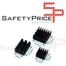 KIT 3 PIEZAS DISIPADOR TERMICO RASPBERRY PI 4B color NEGRO anodizado adhesivo
