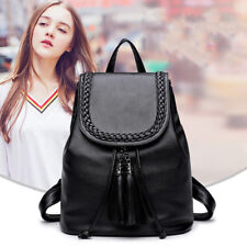 Women Casual Backpack Leather Tassels Black Drawstring Bags School Shoulder Bag