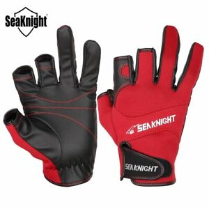SeaKnight Sport Fishing Gloves 1Pair/Lot 3 Half-Finger Breathable Leather Gloves
