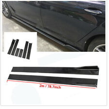 78.7'' Universal Side Skirts Extension Rocker Panel Cover Lip Glossy BLK