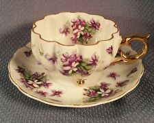 VINTAGE PORCELAIN TEA CUP SAUCER SET UNSIGNED JAPAN VIOLETS TRI FOOTED 3