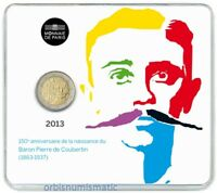 FRANCE 2 EURO 2013 150th Anniversary Pierre Coubertin's Birth OFFICIAL MINT BU
