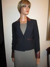 New Elizabeth & James Blazer Jacket 6 Black Wool Brown Leather Accents Contrast