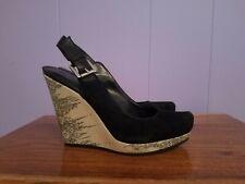 Designer Luxury Rebel Wedge Close Toe  Shoes Suede Size 5