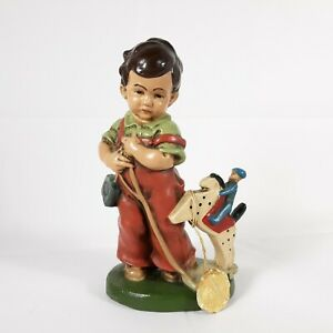 Friedel Boy With Horse Composite Figurine Vintage Holiday Decor