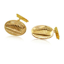 14K Yellow Gold Mens Oval Shape Acropollos Cufflinks