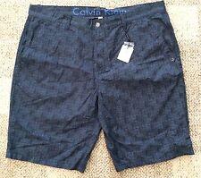 Calvin Klein Mens 100% Cotton Casual Shorts Blue Gray Print Size 40