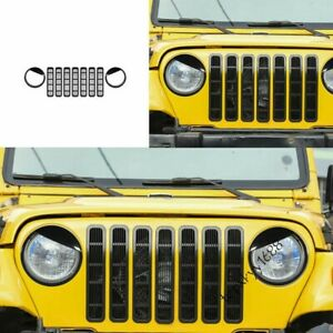 Fit Jeep Wrangler TJ 1997-2006 Black Front Grille Grill+Lampshade Decoration New