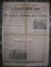 LA GAZZETTA DELLO SPORT 28/2/1949  calcio  Italia 4  Portogallo 1
