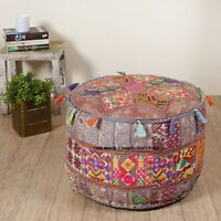 Indian Handmade Round Pouffe Filled Vintage Cotton Footstool Ottoman Patchwork