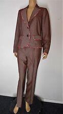 ETCETERA CARLISLE Pants Suit pin stripe sz 4 pink gray paisley lining