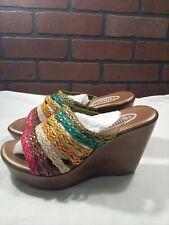 Womens CALLISTO of California Multi Color High Wedge Sandals Shoes Sunrise 10M