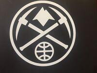 DENVER NUGGETS NBA WHITE VINYL STICKER / DECAL