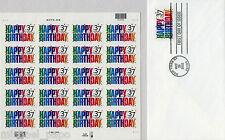 2002 Happy Birthday - Full Sheet (20) - FDC Envelope - Scott 3695