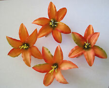 "3.5"" Tropical Orange Lily 4 Piece Silk Flower Hair Clip Lot,Pin Up,Updo,Bridal"