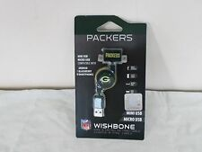 Green Bay Packers USB Mini and Micro Retractable Charge & Sync Cable NEW