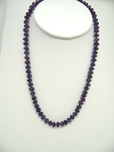 """Genuine Amethyst roundel bead hand knotted necklace 18"""" long"""
