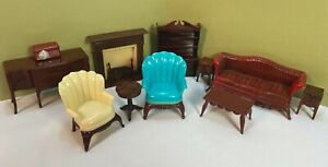 Renwal Dollhouse Furniture Lot of 11 Vintage Fireplace Hutch Credenza Side Table