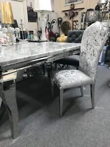 Marble Louis dining table 1.5m wide with curved chrome leg & chairs option