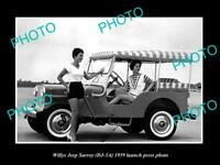 OLD LARGE HISTORIC PHOTO OF 1959 WILLYS JEEP SURREY LAUNCH PRESS PHOTO