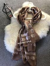 Ladies Women Skull Stripe Silk Scarf Scarves Shawl Wrap Grey Brown UK New Gift