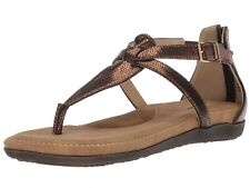 Volatile Starlight Sandal 6 BRONZE T-strap Thong Cushioned Footbed Reptile Print