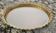 Gold Tone Filigree Oval Mirrored Vanity Tray Bureau Perfume Dresser 14�