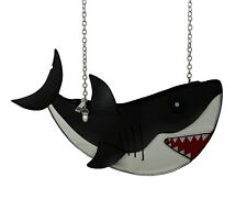 Glossy Great White Shark Cross Body Purse w/Removable Chain Strap